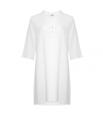 Tiffany Bomulds Skjortekjole Hvid Forfra