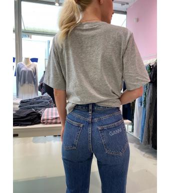 Ganni F6016 Bootcut Jeans Cropped Highwaisted Heavy Denim, 696 Dark Indigo
