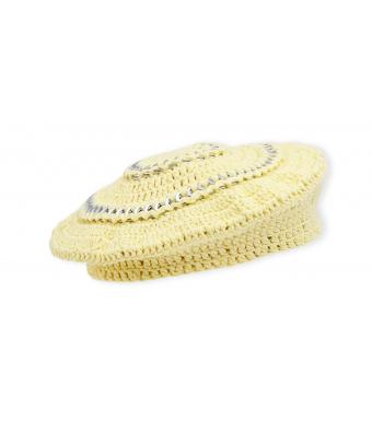 Ganni A3520 Beret Cotton Knit, 321 Pale Banana