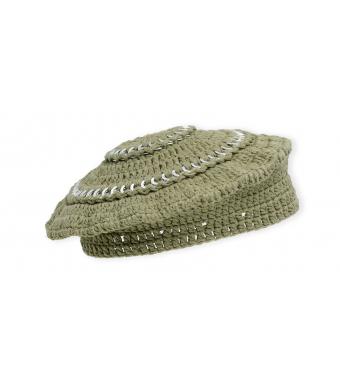 Ganni A3521 Beret Cotton Knit, 861 Kalamata