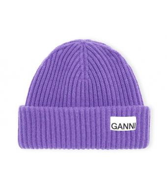 Ganni A3532 Hat Rib Knit Acc, Persian Violet