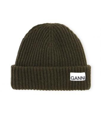 Ganni A3535 Hat Rib Knit Acc, Kalamata