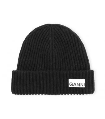Ganni A3610 Hat Rib Knit Acc, Black