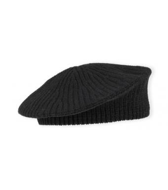Ganni A3752 Beret Rib Knit Acc, 099 Black