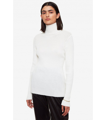 Anine Bing Clare Roll Neck Top A-08-4159, Ivory