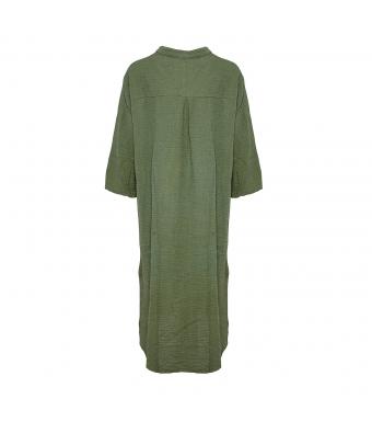 Tiffany Lång Skjortklänning 18970 Double Cotton, Armégrön
