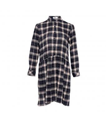 Tiffany 00820 Evelyn Short Dress Viskose, Black/brown Checked