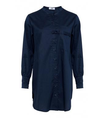 Tiffany Ella Strap Shirt Cotton Poplin, Blue Navy