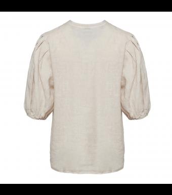 Tiffany Clara Button Blouse Linen, Light Beige