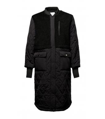 Noella Etta Pile Coat Solid, Black