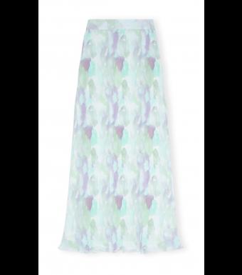 Ganni F5572 Maxi Skirt Pleated Georgette, 151 Bright White