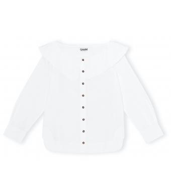 Ganni F5822 Shirt Cotton Poplin, 151 Bright White