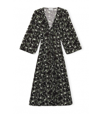 Ganni F5981 Wrap Dress Printed Crepe, 252 Phantom