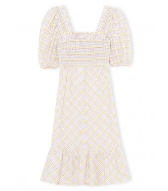 Ganni F6071 Midi Dress Seersucker Dress, 999 Multicolor