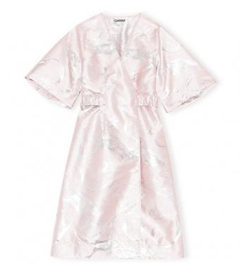 Ganni F6211 Wrap Dress Shiny Jaquard, 500 Pale Lilac