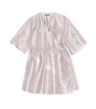 Ganni F6212 Mini Wrap Dress Shiny Jaquard, 500 Pale Lilac