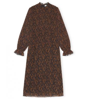Ganni F6233 Dress Pleated Georgette, 190 French Roast