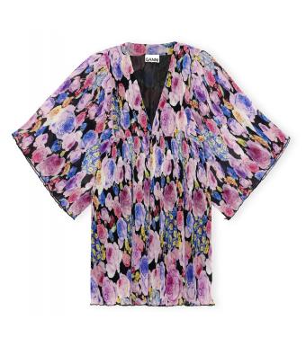 Ganni F6335 Oversized Dress Pleated Georgette, 999 Multicolor