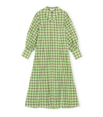 Ganni F6407 Dress Seersucker Check, Oyster Gray