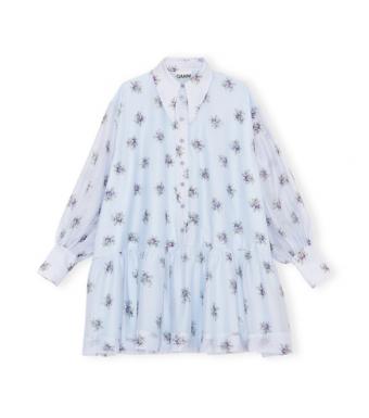Ganni F6435 Mini Dress Organza, 694 Heather