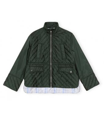 Ganni F6454 Jacket Recycled Ripstop Quilt, 784 Dark Green
