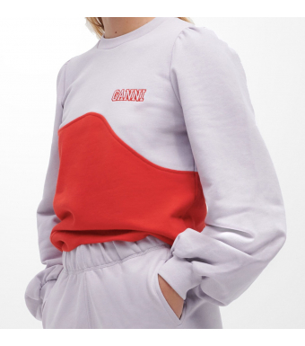 Ganni T2963 Puff Shoulder Wave Sweat Software Isoli, 712 Misty Lilac