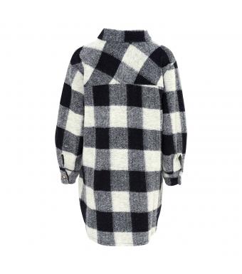 Tiffany Valley Short Coat Checked Wool, Navy/grey