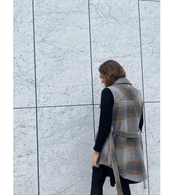 Tiffany Valley Short Waistcoat Wool, Brown/grey
