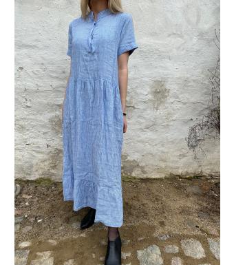 Tiffany Lång Linneklänning 191613 Epsi Vit/Little Boy Blue