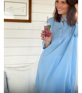 Tiffany Skjortklänning 17690 Double Cotton Ljusblå