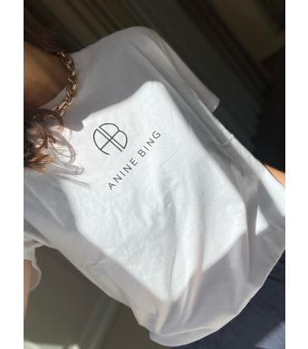 Anine Bing T-shirt Hudson Monogram Vit