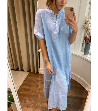 Tiffany Ebbi Long Dress Linen, Light Blue