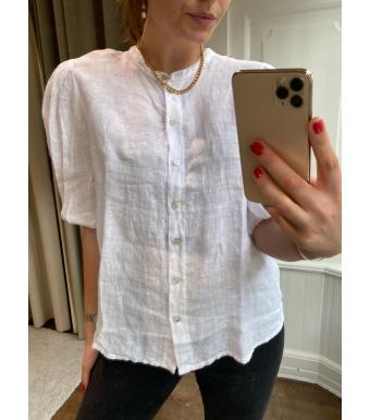 Tiffany Clara Button Blouse Linen, White