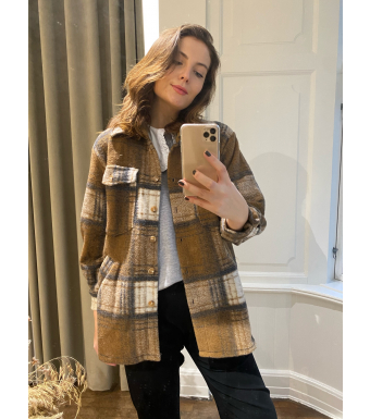 Tiffany Valley Short Coat Checked Wool, Off White/camel