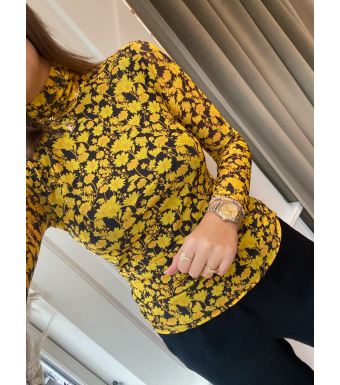 Ganni T2968 Roll Neck Printed Mesh, 313 Spectra Yellow