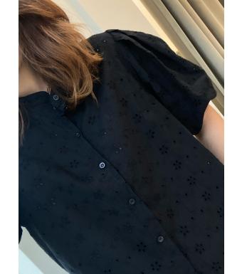 Tiffany Clara Blouse Cotton Lace, Black