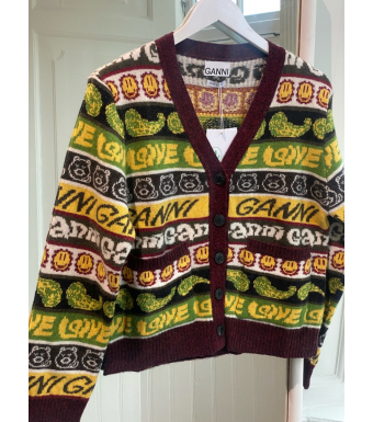 Ganni K1600 Cardigan Wool Mix Knit, 999 Multicolor