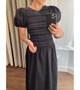 Ganni F6037 Dress Cotton Poplin, 099 Black