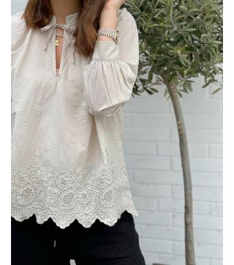 Tiffany Sibil Blouse Soft Cotton, Beige