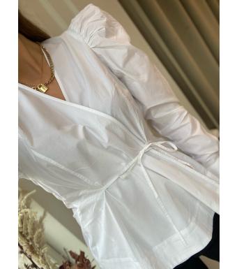 Ganni F6035 Wrap Blouse Cotton Poplin, 151 Bright White