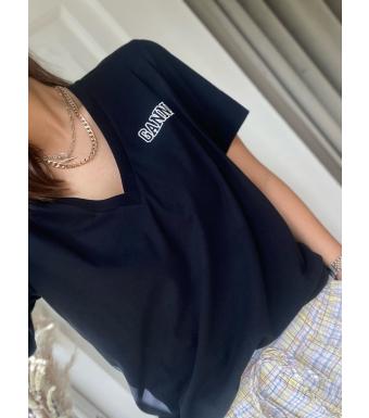 Ganni T2918 V-neck T-shirt Thin Software Jersey, 099 Black