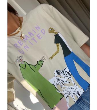 Remain Rosan T-shirt 100% Organic Cotton, Gravel Comb