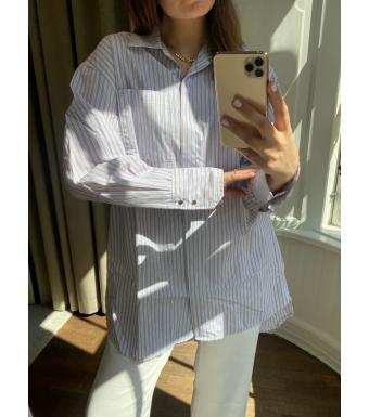 Tiffany Kalo Shirt Cotton Poplin, Camel/blue