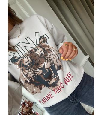 Anine Bing Tiger Sweatshirt A-08-5002, Stone