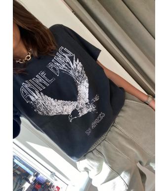 Anine Bing T-Shirt Lili Eagle A-08-2140 Tvättad Svart