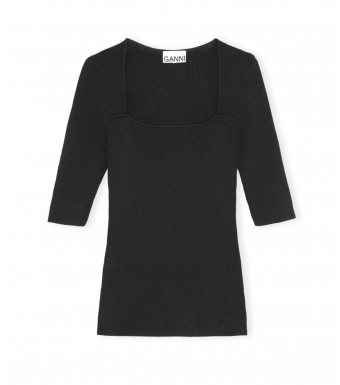 Ganni K1536 Pullover Melange Knit, 099 Black