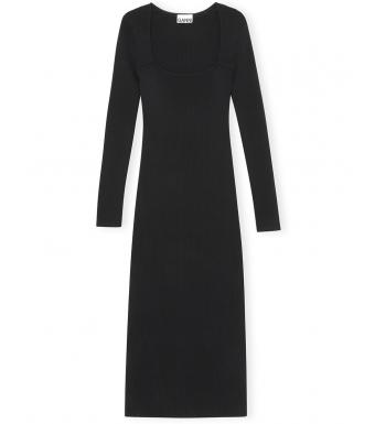 Ganni K1544 Dress Melange Knit, 099 Black