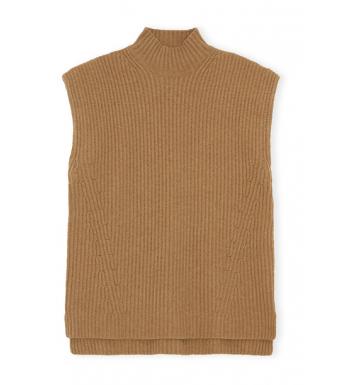 Ganni K1546 Vest Rib Knit, Camel