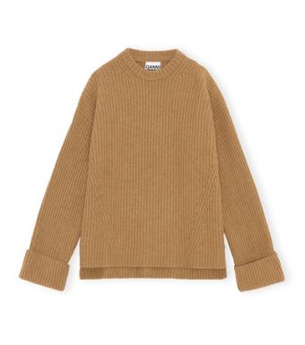 Ganni K1548 Pullover Rib Knit, Camel
