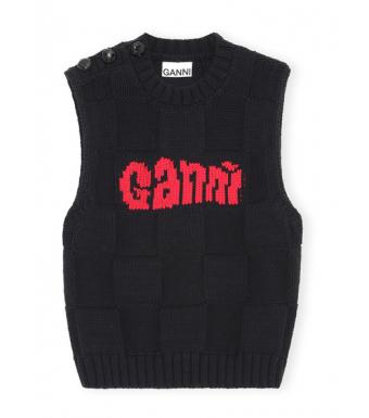 Ganni K1553 Vest Cotton Rope Knit, Black